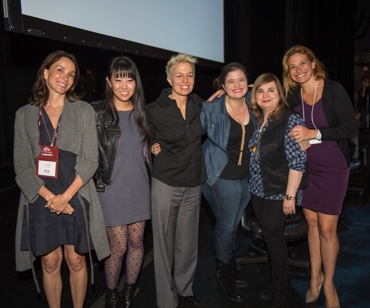 Dancing with Media Panelists Mary Wagstaff, Leiti Hsu, Elizabeth Faulkner, Alex Guarnaschelli, Maricel Presilla and Donatella Arpaia. Photo: WCR